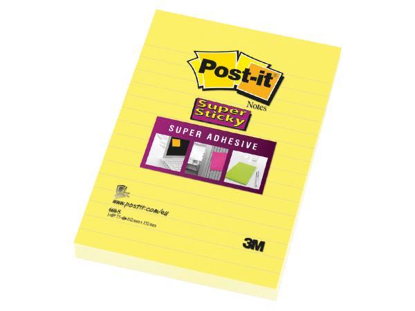 Memoblok 3M Post-it 660-S Super Sticky 102x152 geel met lijn