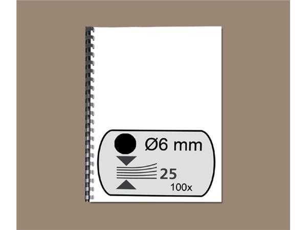 Bindrug GBC 6mm 21rings A4 zwart 100stuks