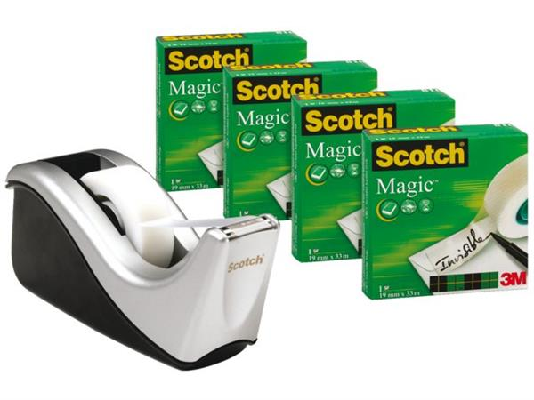 Plakbandhouder Scotch C60 zwart + 1rol magic tape