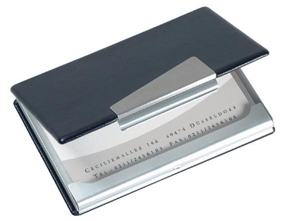Visitekaartenhouder Sigel VZ131 20 kaarten aluminium met leer