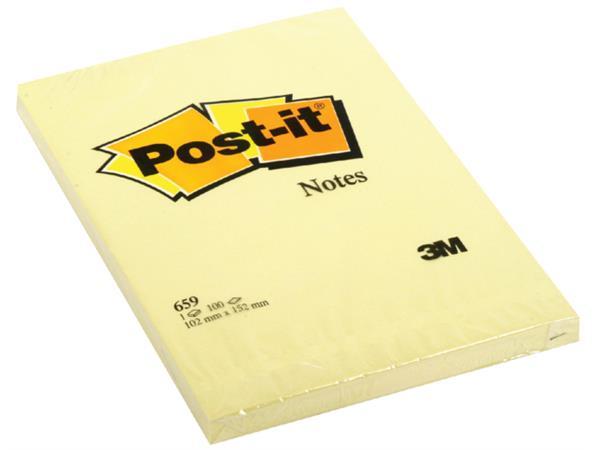 Memoblok 3M Post-it 659YEL 102x152mm geel